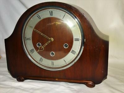 Vintage Smiths Westminster Striking Mantle Clock,brass Movement,mahogany Case.