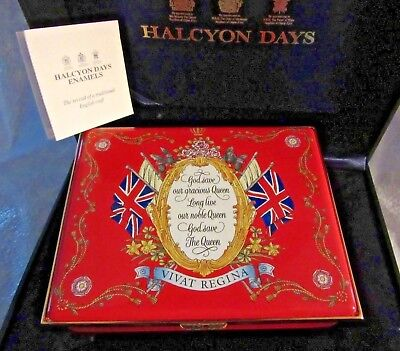 RED Enamel Lg Halcyon Days The Queen's Diamond Jubilee God Save the Queen & Box