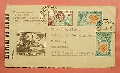 1944 Pitcairn Islands Hms Bounty Ship Cachet To Usa Wwii Censored