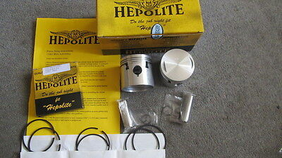 2 HEPOLITE PISTONS BSA A10 1950-62 +40 oversize GUDGEON PINS CIRCLIPS RINGS