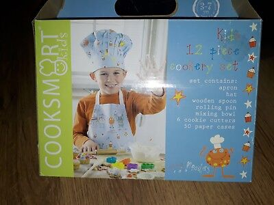 Kids/childrens 12 Piece Cookery Set In Box Brand New-apron,hat,bowl,cookie...