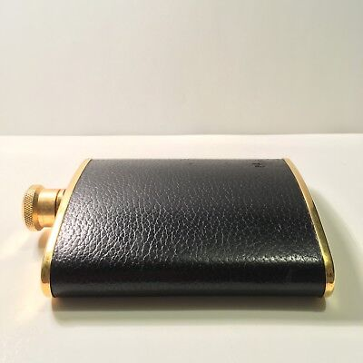 (VINTAGE) Gold-plated, Stainless Steel, Black Leather Flask