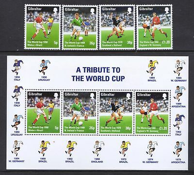 Gibraltar 1998 World Cup Football - MNH Stamps & Mini Sheet - Cat £6.90 - (70)