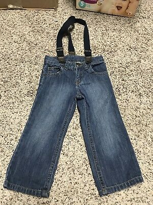 Crazy 8 Boys Toddler Jeans With Suspenders Size 2T