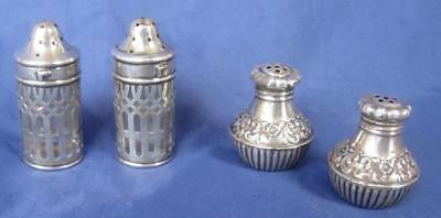 Antique 2 Pair Sterling Silver Salt & Pepper Shakers Small Art Deco Floral 85gm