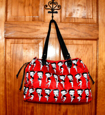 Betty BooP by Betty Boop Large Nylon red Ties on side Magnetic lock Tote Bag