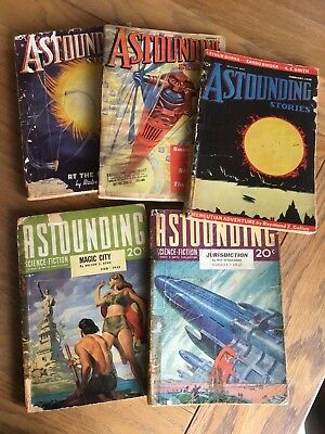 Astounding Science Fiction - US vintage Pulp magazine 5 issues - 1930's /40's