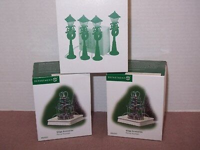 Lot Village Accessories Dept 56~Turn of the Century Lampposts~Formal Fountain
