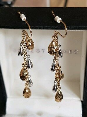 9Ct Yellow Gold & White Gold Drop Earrings