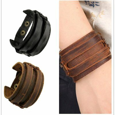 Rtro Punk Rock Wide Leather Bangles Men Cool Cowhide Wristband Bracelets Jewelry