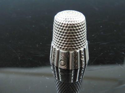 Antique Victorian Sterling Silver Repousse Ribbed Size 8 Sewing Thimble