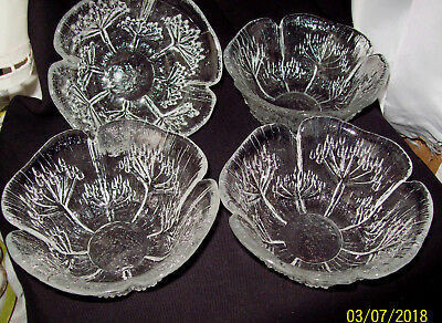 Lasisepat Mantsala Finland Four Desert Bowls Cow Parsley Pattern