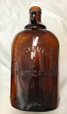 THE CHRISTIAN BROTHERS of NAPA, CALIF.  Embossed Glass Bottle VINTAGE Half Gal.