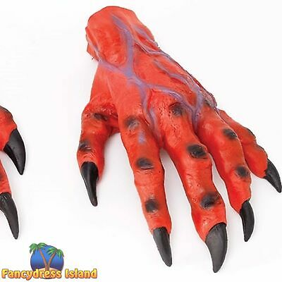 HALLOWEEN RED DEVIL HORROR HANDS CLAWS Mens Fancy Dress