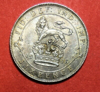 Great Britain :  Sixpence 1918   . 0.925 Silver