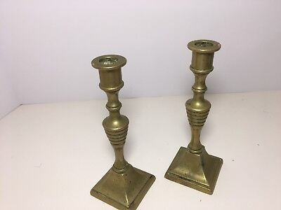 """VINTAGE Set of 2 small Solid Brass Candlesticks 6""""  Tall Candle stick Holders"""