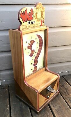 Antique Vintage Exhibit Supply Co. Chicago Penny Coin Op Arcade Weakness Machine