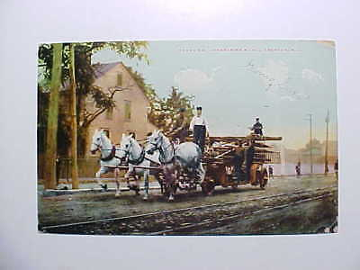 1908 Trenton New Jersey  Ladder Truck Racing To Fire With 3 White Horses Vg+