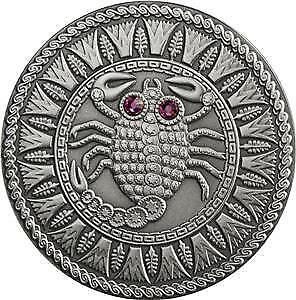 Belarus 2009 20 Rubles Zodiac Signs - Scorpio 28.28g Silver Coin with Zircons