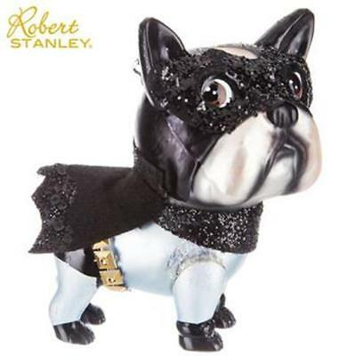 Batman Caped Dog Shaped Glass Sparkly Ornament Robert Stanley Frenchie Pug