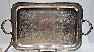 Vintage Antique Victorian Silver Plate On Copper Large Serving Tray Tea