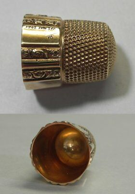 J486 Antique 14K Yellow Gold Sewing Thimble Size 9, Not Monogrammed