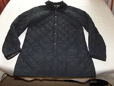 BARBOUR D895 Classic Eskdale Black Quilted Jacket S Small Men or Women Snap Up