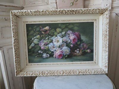 OMG Christie REPASY Canvas Print PINK WHITE ROSES Bird Nest Eggs Vintage FRAME