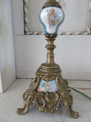 GORGEOUS Old French TABLE LAMP Precious CHERUBS Ornate Footed Base Shapely