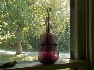 "Beautiful Puce Amethyst Pontiled 9 3/4"" Violin Figural Bottle With Wall Hanger"