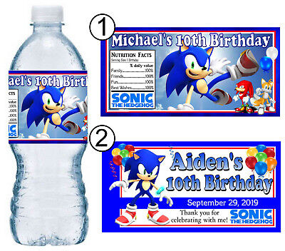 20 Sonic The Hedgehog Birthday Party Favors Water Bottle Labels 7 85 Picclick