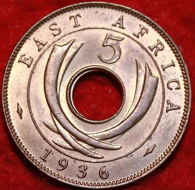 Uncirculated 1936 East Africa 5 Cents Foreign Coin