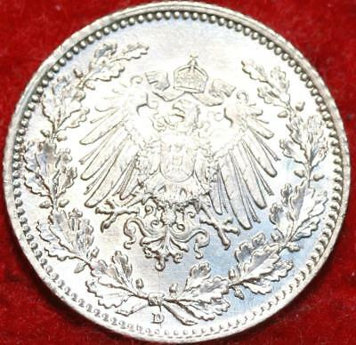 Uncirculated 1915-D Germany 1/2 Mark Silver Foreign Coin