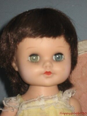 """Vintage 10"""" Brunette with Blue Sleep Eyes  Eegee Doll  Walker With Case & Extras"""