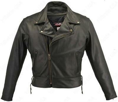 Mens Made in USA Classic Black 1.6-1.8 mm Thick Naked Leather Motorcycle Jacket
