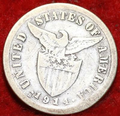 1914-S Philippines 10 Centavos Silver Foreign Coin