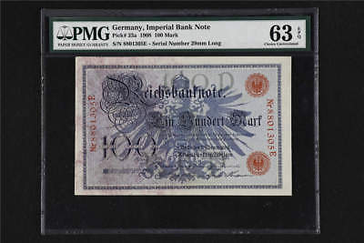 1908 Germany Imperial Bank Note 100 Mark Pick# 33a PMG 63 EPQ Choice UNC