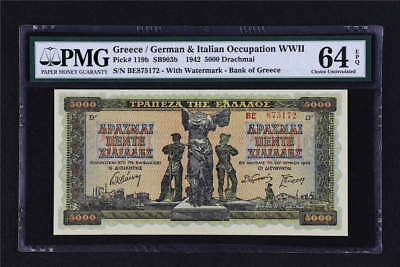 1942 Greece / German Occupation WWII 5000 Drachmai Pick# 119b PMG 64 EPQ UNC