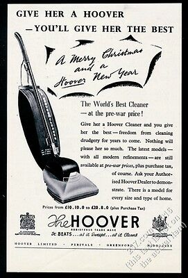 1947 Hoover upright vacuum cleaner photo Give Her A Hoover Xmas vintage print ad