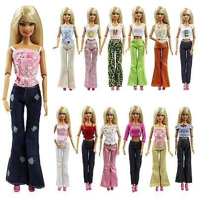 5 Sets Handmade Clothes For 11.5 inch Girl Doll Trousers Pants Top Shirt Dress