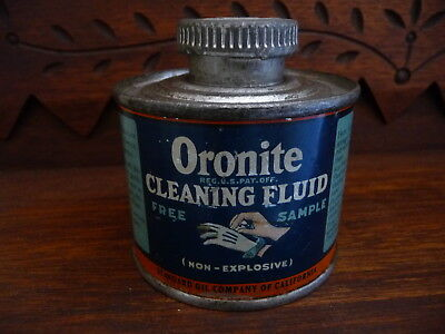 Vintage Free Sample Litho Tin Oronite Cleaning Fluid Standard Oil California