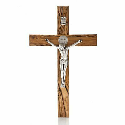 Enchanting Holy Land Handmade St. Saint Benedict Wall Wood Cross Crucifix Silver