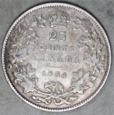 Canada 1934 25 Cents Silver Coin