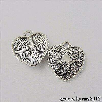 20x Vintage Silver Alloy Carving Heart Shape Charms Jewelry Pendants Craft 50731