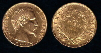 1860-BB  France Gold 20 Francs  Emperor Napoleon III LUSTROUS CLASSIC OLDER Coin