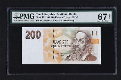 1998 Czech Republic National Bank 200 Korun Pick# 19  PMG 67 EPQ Superb Gem UNC
