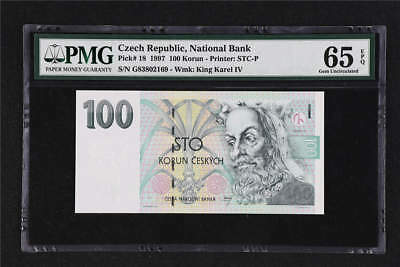 1997 Czech Republic National Bank 100 Korun Pick# 18  PMG 65 EPQ Gem UNC
