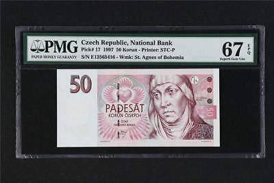 1997 Czech Republic National Bank 50 Korun Pick# 17  PMG 67 EPQ Superb Gem UNC