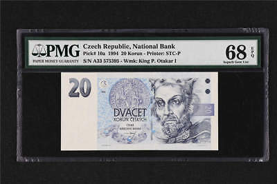 1994 Czech Republic National Bank 20 Korun Pick# 10a  PMG 68 EPQ Superb Gem UNC
