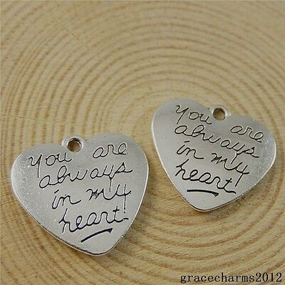18x Vintage Silver Alloy Engraved Love Words Heart Charms Pendants Crafts 50826